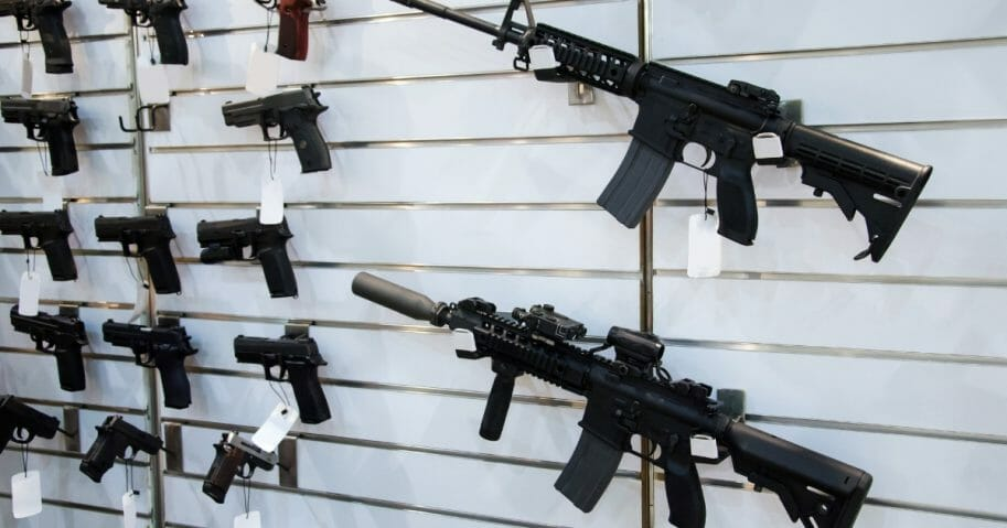 Stock photo of a rack of guns.