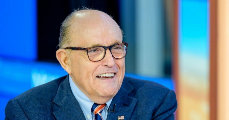 """Former New York City Mayor and attorney to President Donald Trump Rudy Giuliani visits """"Mornings With Maria"""" with anchor Maria Bartiromo at Fox Business Network Studios on Sept. 23, 2019, in New York City."""