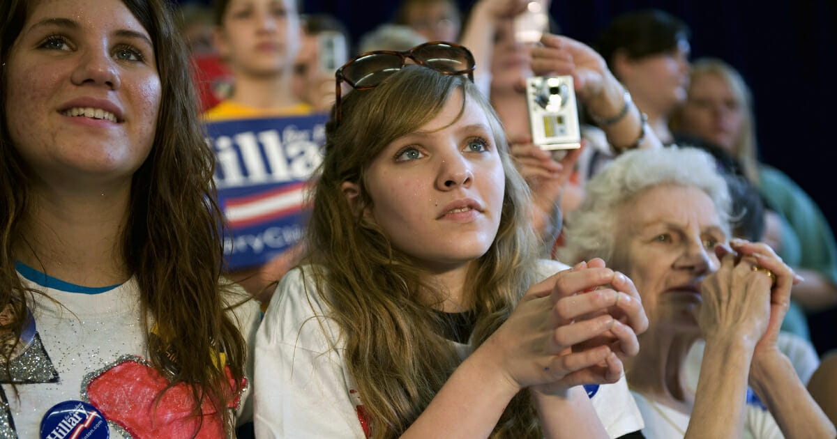 South Dakota Democrats listen to presidential candidate Hillary Clinton during a campaign event at Yankton High School on June 2, 2008.