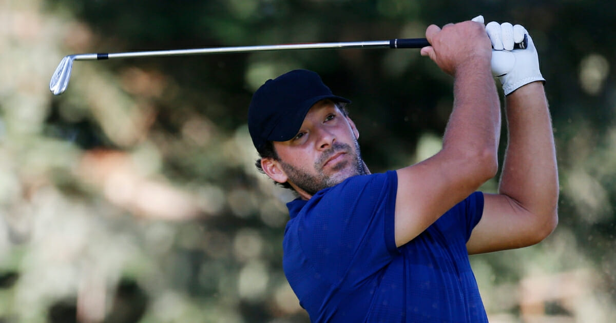 Tony Romo hits on the 11th hole during the first round of the Safeway Open at Silverado Resort in Napa, California, on Sept. 26, 2019.