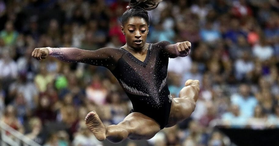 Simone Biles competes on floor exercise during Women's Senior competition of the 2019 U.S. Gymnastics Championships at the Sprint Center on August 11, 2019 in Kansas City, Missouri.