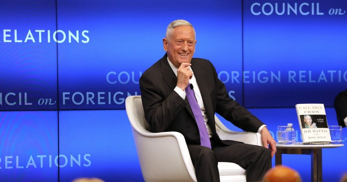 Former Secretary of Defense James Mattis speaks with Richard Haass at The Council on Foreign Relations on Sept. 03, 2019 in New York City, New York.