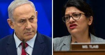 Islraeli Prime Minister Benjamin Netanyahu, left; and Rep. Rashida Tlaib, right.