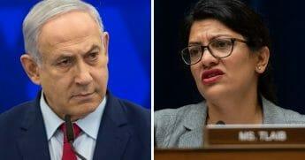 Islraeli Prime Minister Benjamin Netanyahu, left; and Rep. Rashida Tlaib, right.