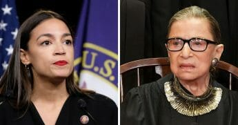 Rep. Alexandria Ocasio-Cortez, left; and Supreme Court Justice Ruth Bader Ginsburg, right.