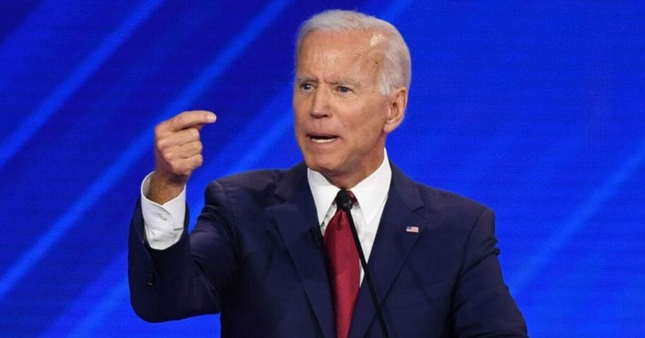 Former Vice President Joe Biden gestures during Thursday's Democratic debate in Houston.
