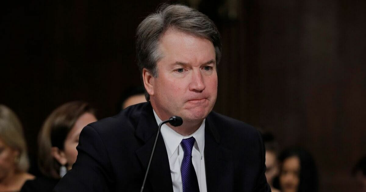 Now-Supreme Court Justice Brett Kavanaugh is pictured during his contentoious confirmation hearings in September 2018.