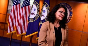 Michigan Democratic Rep. Rashida Tlaib is pictured in a file photo from July in the nation's Capitol.