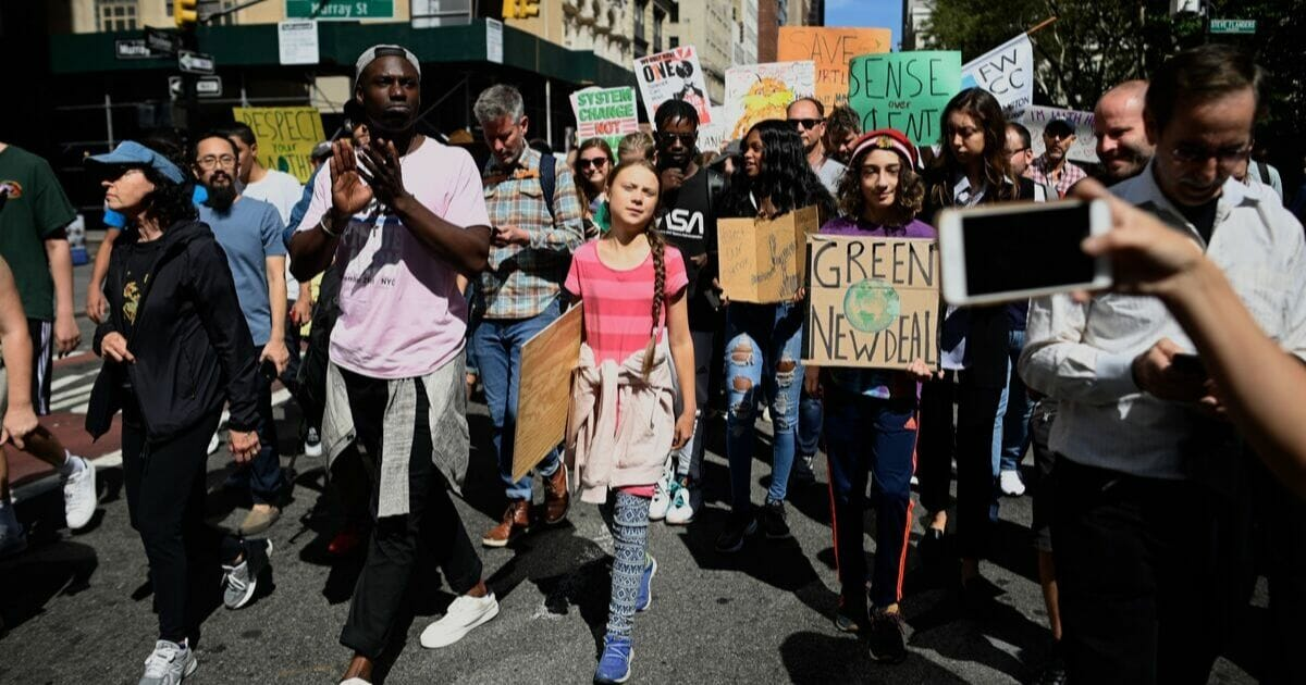 Climate change activist Greta Thunberg walks during the Global Climate Strike march on September 20, 2019, in New York City.