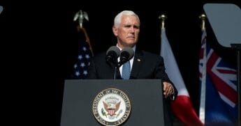 Vice President Mike Pence delivers a speech at the Flight 93 National Memorial on Sept. 11, 2019, in Shanksville, Pennsylvania.