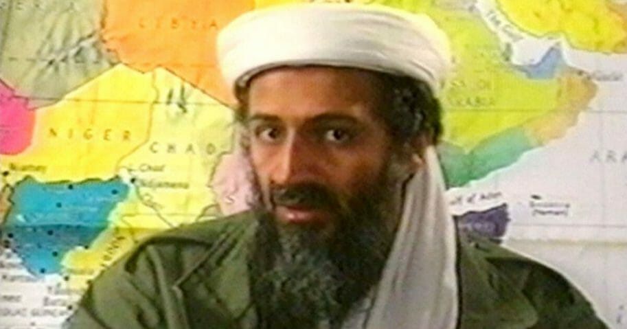 Osama bin Laden sits in front of a map in this undated still frame from a recruitment video for his al-Qaida terrorist network.