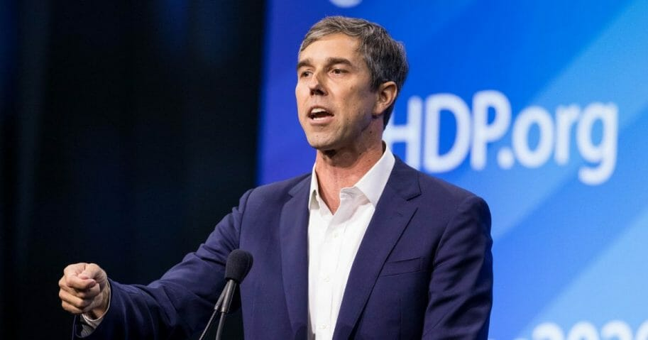Democratic presidential candidate, former Rep. Beto O'Rourke (D-TX) speaks during the New Hampshire Democratic Party Convention at the SNHU Arena on Sept. 7, 2019, in Manchester, New Hampshire.