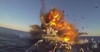 A Naval Strike Missile shreds a frigate.