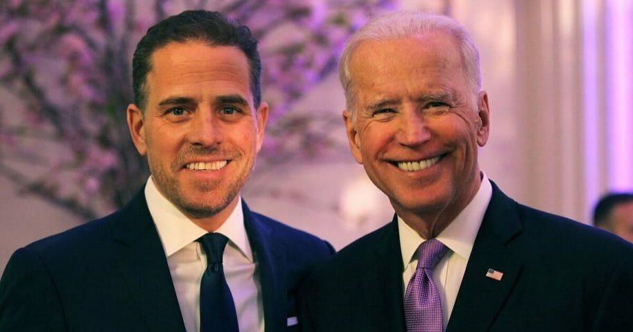 Hunter Biden (L) and U.S. Vice President Joe Biden