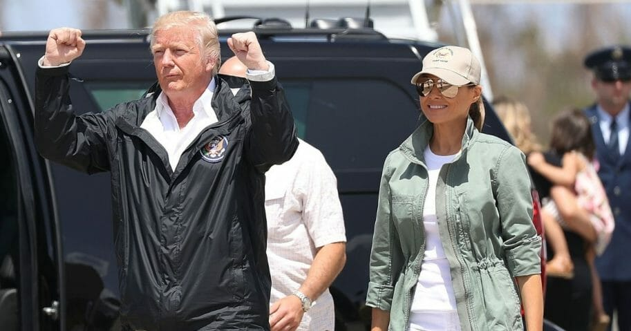 President Donald Trump and first lady Melania Trump arrive on Air Force One at the Muniz Air National Guard Base for a visit to Puerto Rico after Hurricane Maria hit the island on Oct. 3, 2017, in Carolina, Puerto Rico.