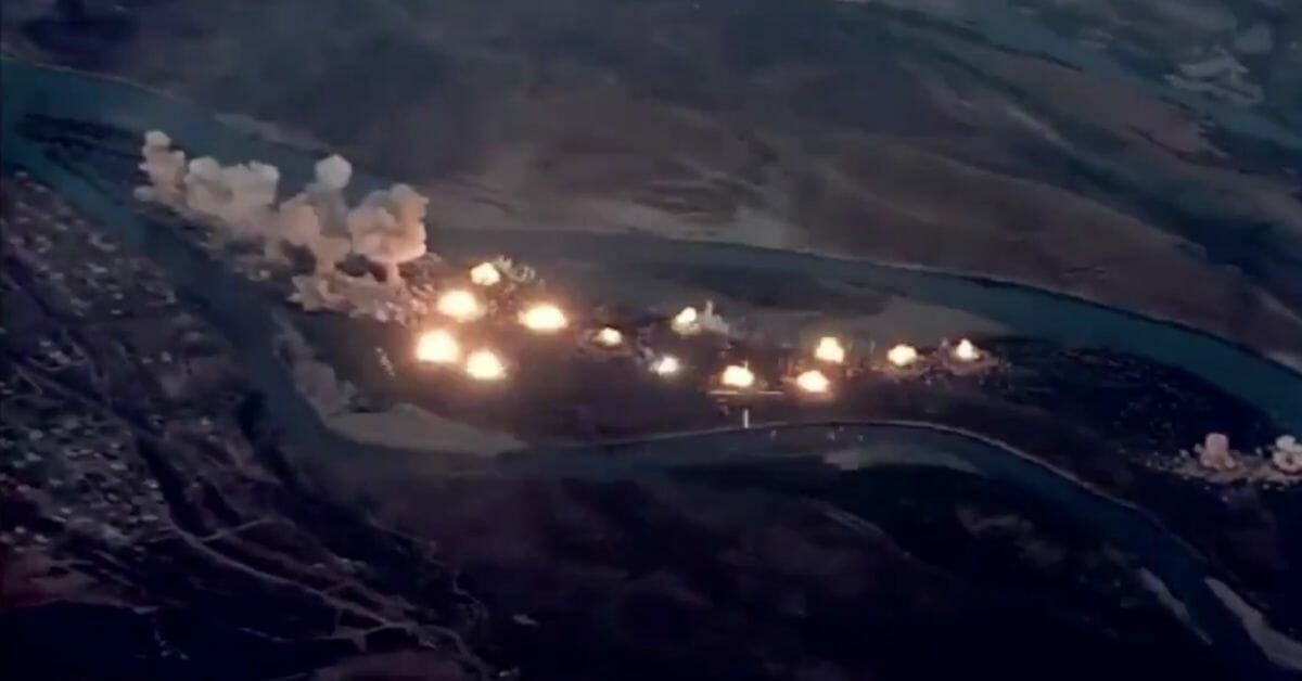 Video of coalition F-15s and F-35s bombing ISIS militants on Qanus Island, Sept. 10, 2019.