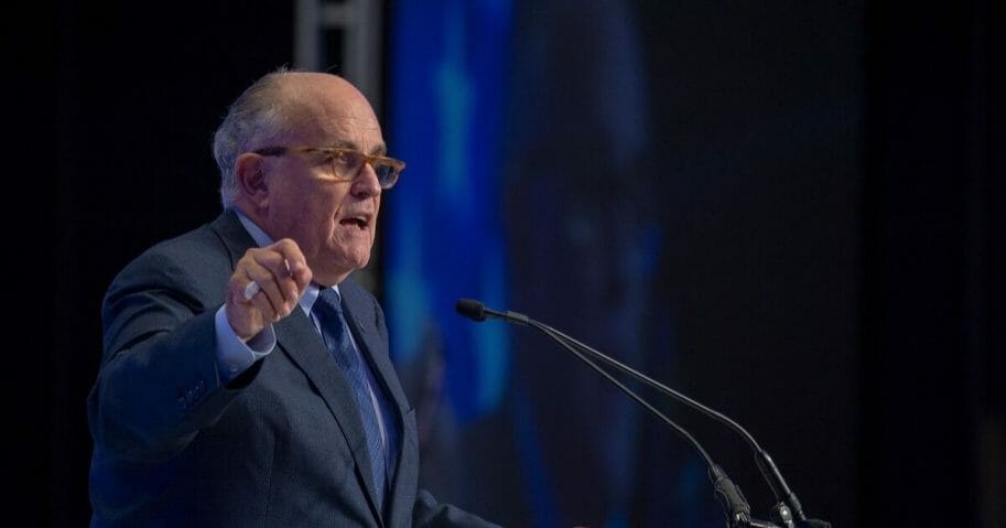 Rudy Giuliani, the former mayor of New York City and current lawyer to President Donald Trump, speaks at the Conference on Iran on May 5, 2018 in Washington, D.C.