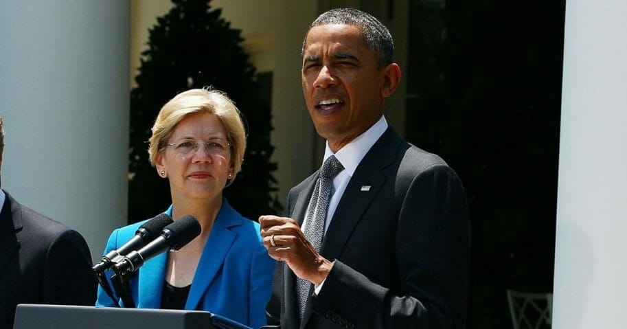 U.S. President Barack Obama speaks during a presser to announce his nomination of former Ohio Attorney General Richard Cordray as head of the in the Consumer Financial Protection Bureau with Special Advisor on the Consumer Financial Protection Bureau Elizabeth Warren (2nd-L), in the Rose Garden at the White House on July 18, 2011, in Washington, D.C.
