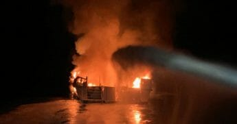 Fire on diving boat off California.