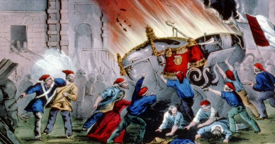 The French revolution: burning the royal carriages at the Chateau d'Eu