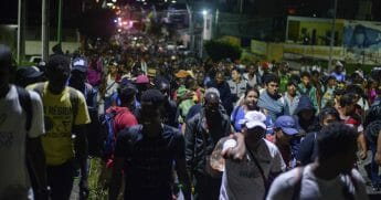 Migrants depart early in the morning from Tapachula.