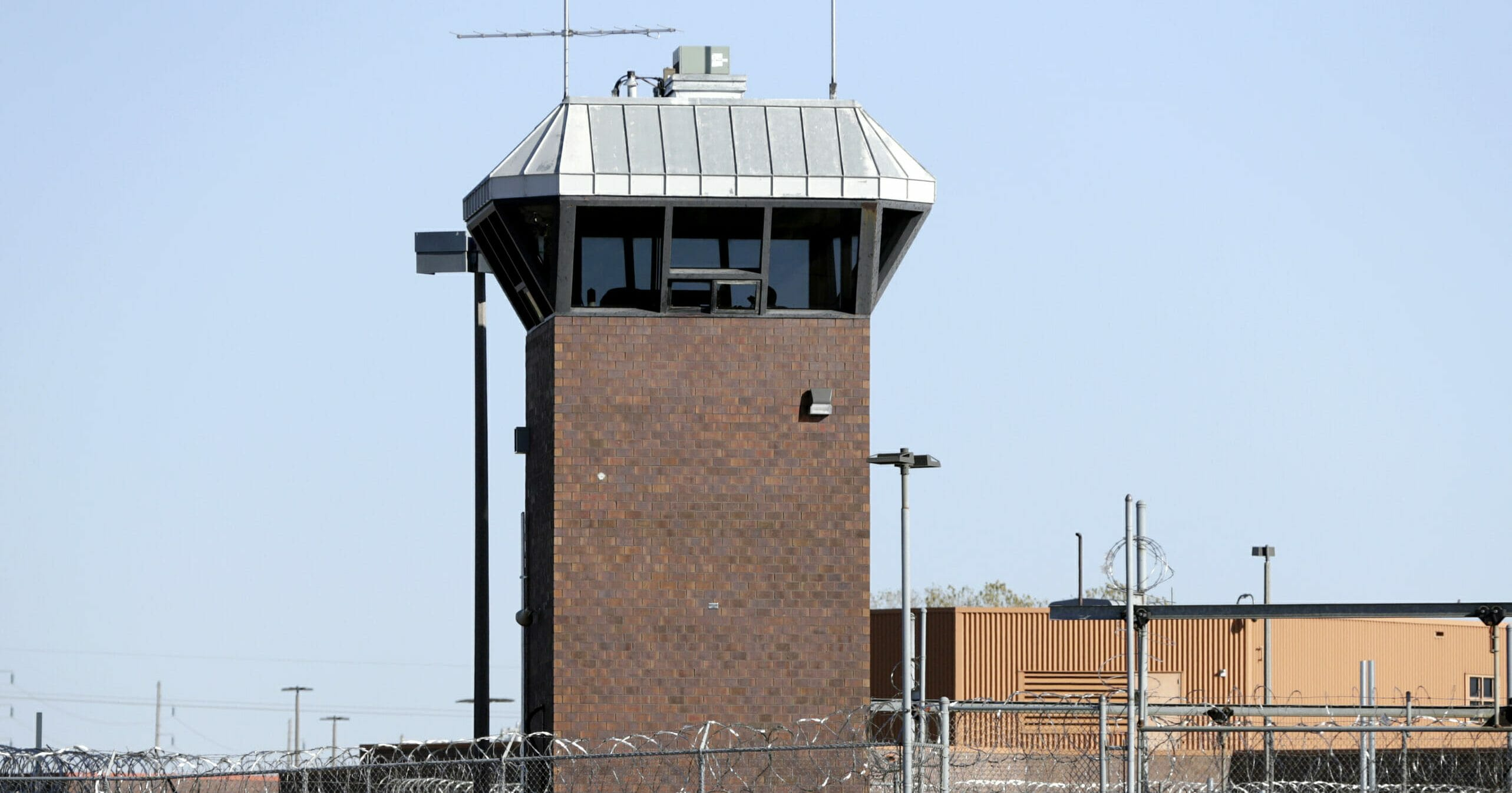 This Oct. 25, 2019, photo shows a guard tower at the Nebraska State Penitentiary, in Lincoln, Nebraska.