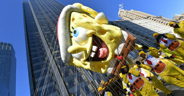 The SpongeBob SquarePants balloon floats along the parade route during the 2018 Macy's Thanksgiving Day Parade on Nov. 22, 2018, in New York City.