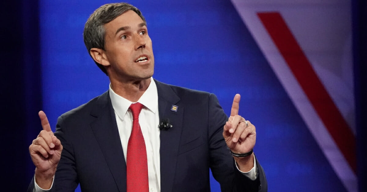 Democratic presidential candidate and former Rep. Beto O'Rourke (D-Texas) speaks at the Human Rights Campaign Foundation and CNN presidential town hall focused on LGBT issues on Oct. 10, 2019, in Los Angeles, California.