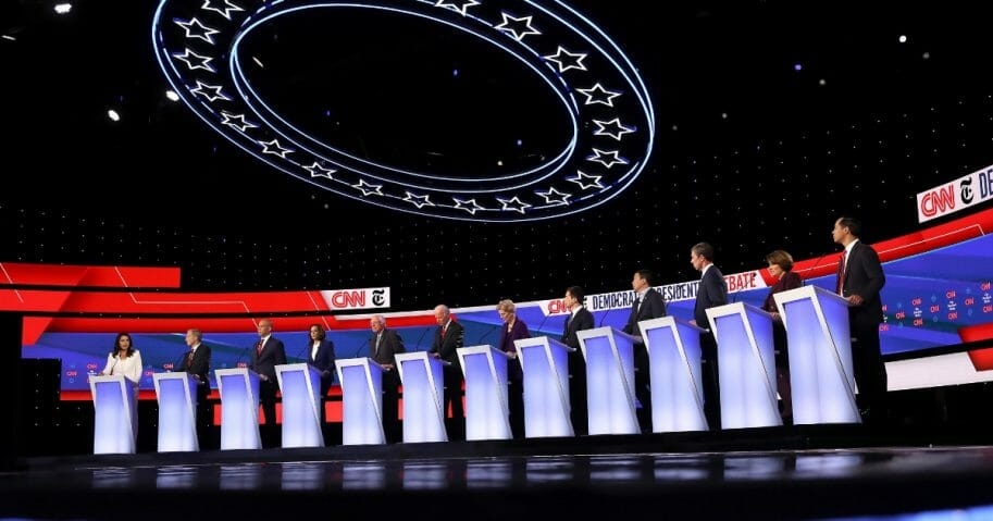 Candidates on stage during the Democratic presidential debate at Otterbein University on Oct. 15, 2019, in Westerville, Ohio.
