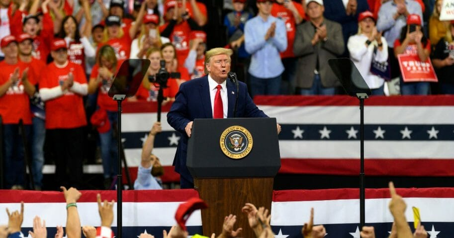 President Donald Trump speaks during a campaign rally at the Target Center in Minneapolis.