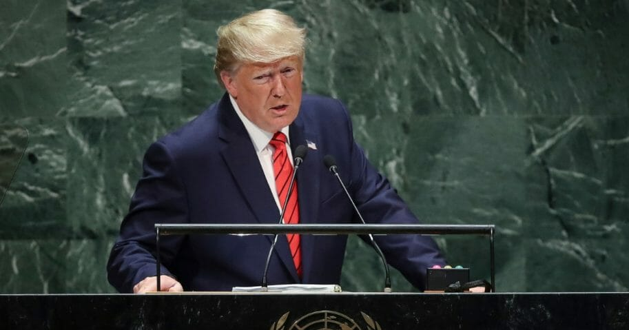 President Donald Trump addresses the United Nations General Assembly at UN headquarters on Sept. 24, 2019, in New York City.