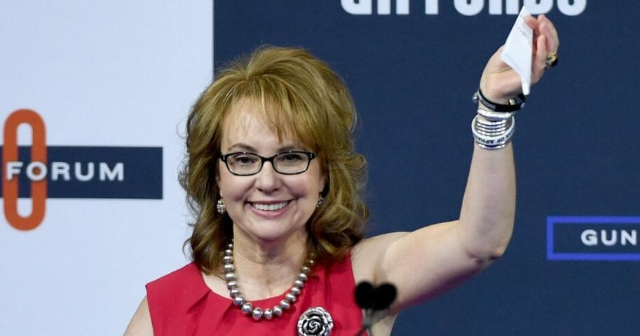 Former U.S. Rep. Gabrielle Giffords waves as she arrives at the 2020 Gun Safety Forum hosted by gun control activist groups Giffords and March for Our Lives at Enclave on Oct. 2, 2019, in Las Vegas, Nevada.