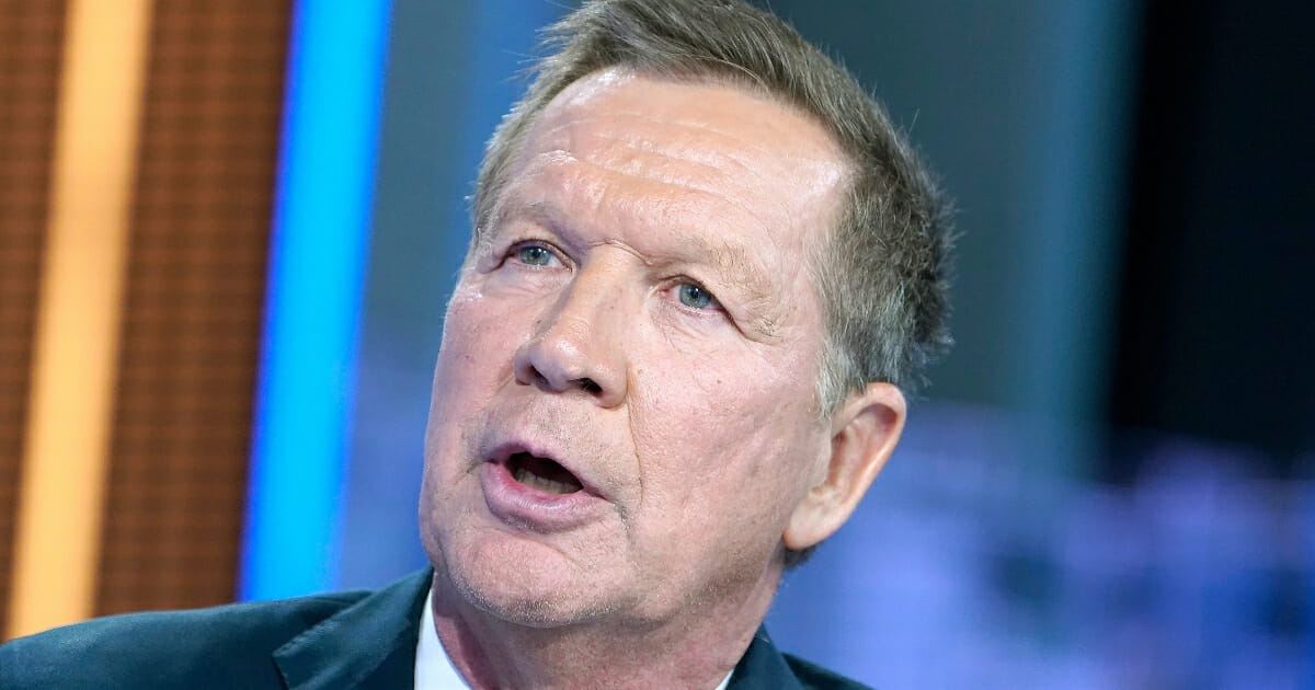 """Former Ohio Gov. John Kasich visits """"Your World With Neil Cavuto"""" at Fox News Channel Studios on Oct. 15, 2019, in New York City."""