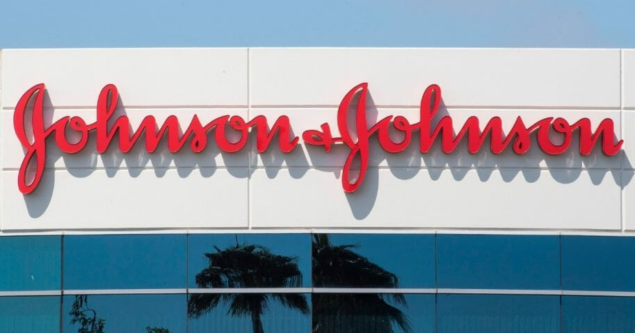 A sign on a building at the Johnson & Johnson campus shows its logo in Irvine, California, on Aug. 28, 2019.
