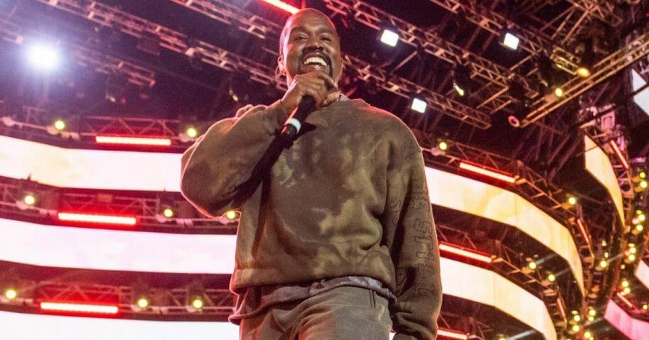 Kanye West performs during the Coachella Valley Music and Arts Festival in Indio, California, on April 20, 2019.