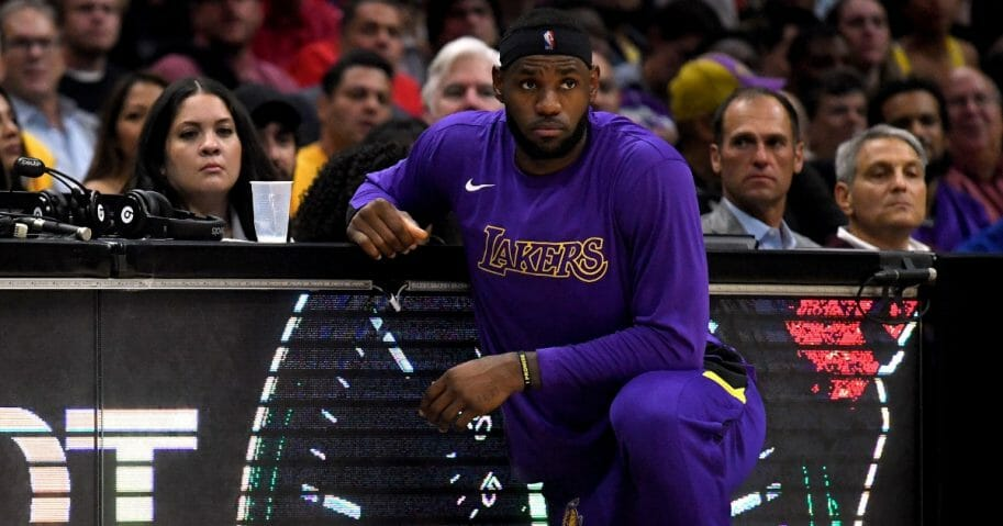 LeBron James #23 of the Los Angeles Lakers waits to re-enter the game at the Staples Center on Oct. 22, 2019, in Los Angeles, California.