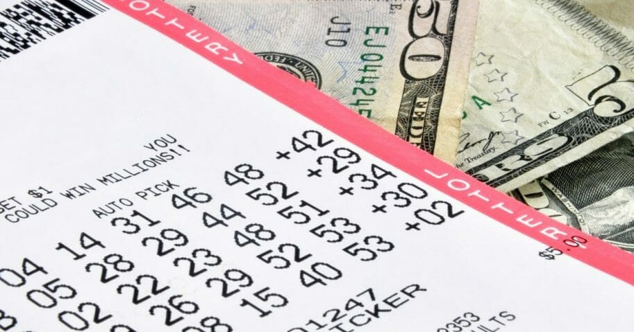 State lottery ticket and cash
