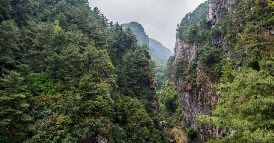 "Mountain view at ""Cangshan"" mountain near the city of Dali in China's Yunnan province."
