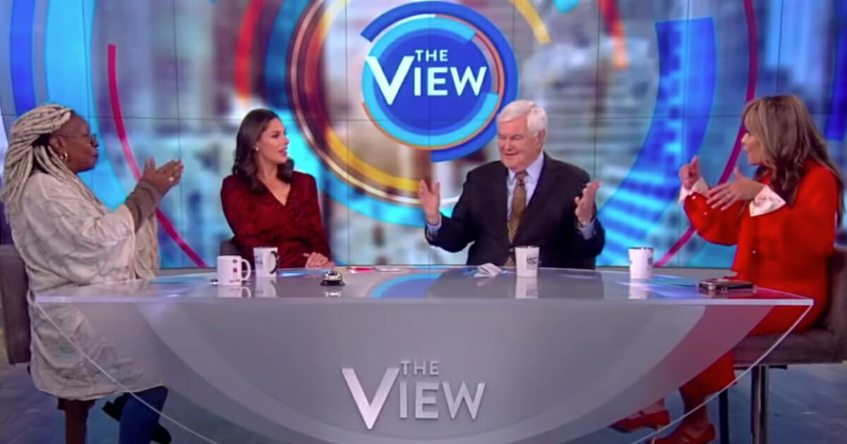 """""""The View"""" host Whoopi Goldberg told Newt Gingrich she was not going to let the former House speaker """"spin"""" after he brought up the fact that the Hillary Clinton campaign had worked with foreign officials to try and influence the outcome of the 2016 election."""