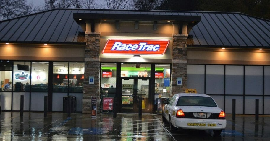 RaceTrac gas station sign and logo.