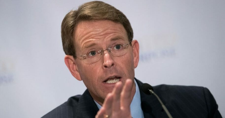 Tony Perkins, president of the Family Research Council, speaks during a press conference following a meeting with Republican presidential candidate Donald Trump at the Marriott Marquis Hotel, June 21, 2016, in New York City.