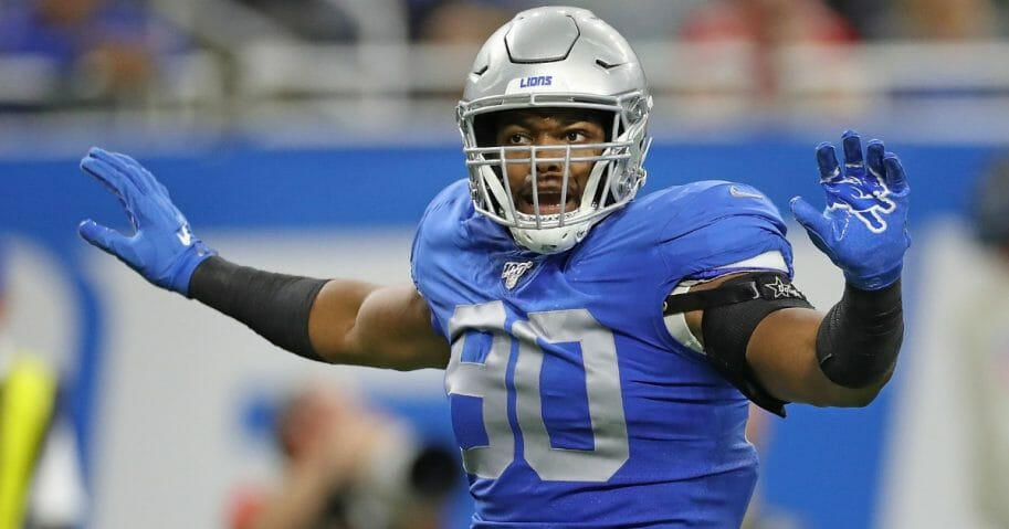 Trey Flowers #90 of the Detroit Lions reacts to a third down stop during the game against the Kansas City Chiefs at Ford Field on Sept. 29, 2019, in Detroit, Michigan.