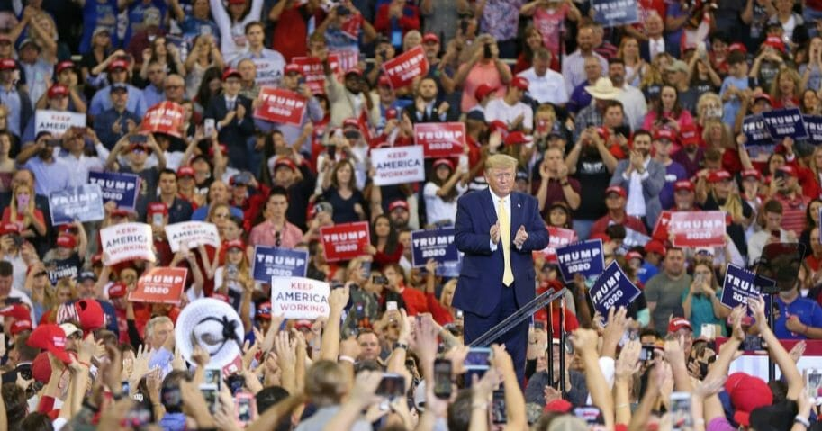 President Donald Trump speaks during a campaign rally at Sudduth Coliseum on Oct.r 11, 2019, in Lake Charles, Louisiana.