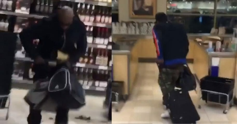 Thieves seen stealing booze from a Canadian liquor store.