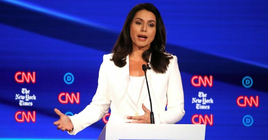 Tulsi Gabbard at a Democratic debate.