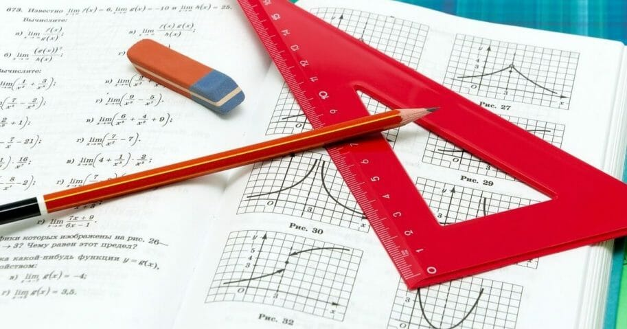 Stock image of school supplies resting on an open math textbook.