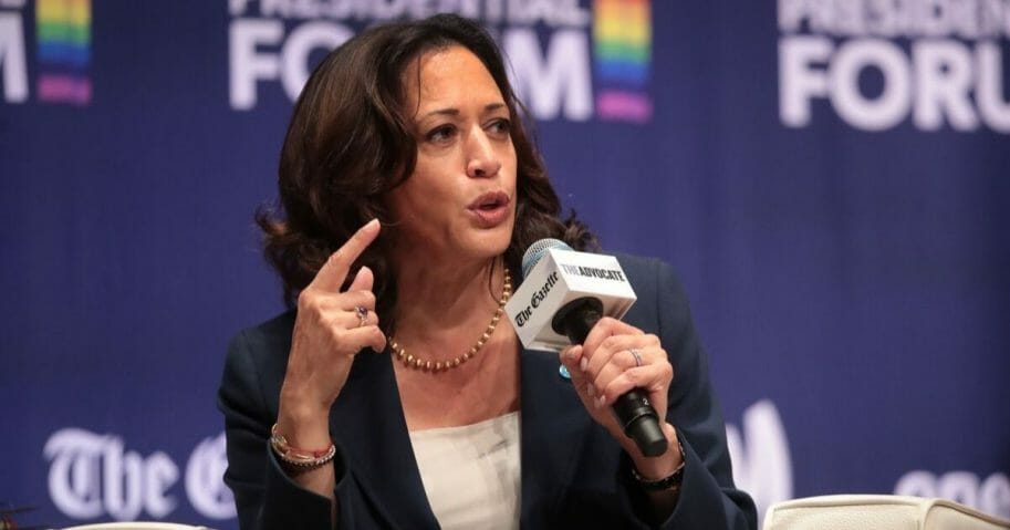 "Democratic presidential contender and California Sen. Kamala Harris speaks during at Sept. 20 appearance at the ""LGBTQ Presidential Forum"" at Coe College in Cedar Rapids, Iowa."