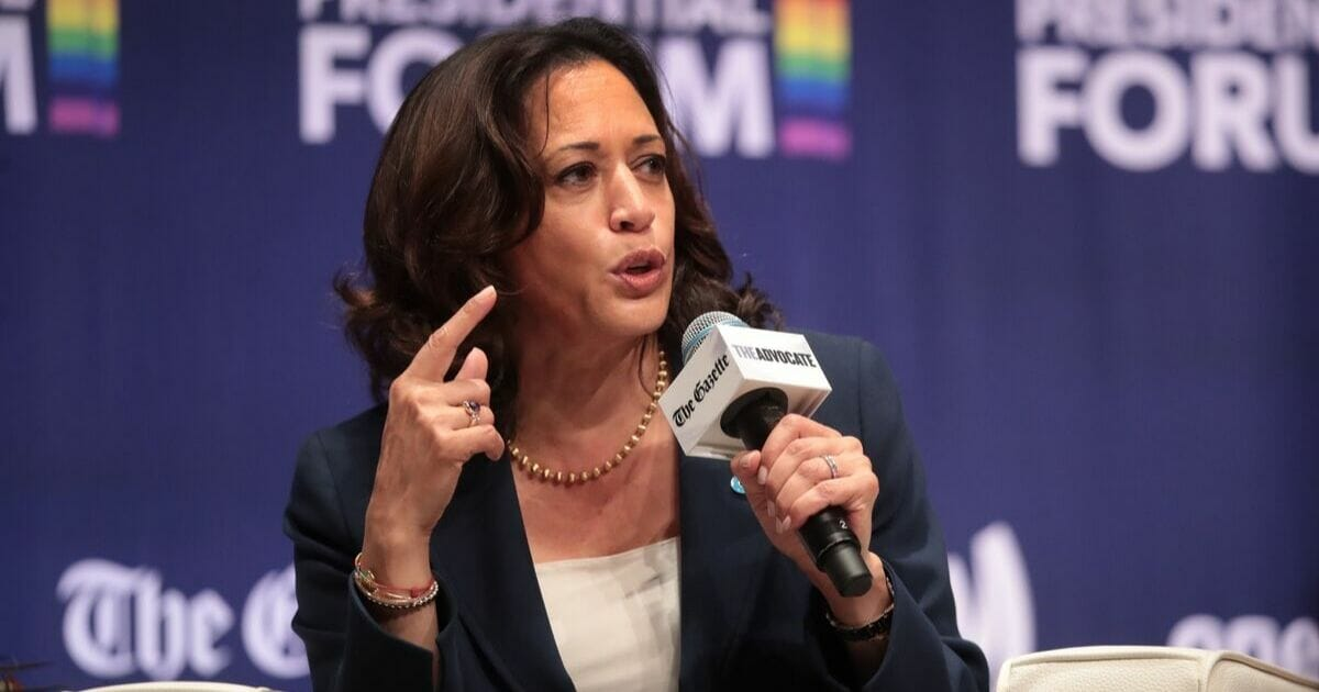 """Democratic presidential contender and California Sen. Kamala Harris speaks during at Sept. 20 appearance at the """"LGBTQ Presidential Forum"""" at Coe College in Cedar Rapids, Iowa."""