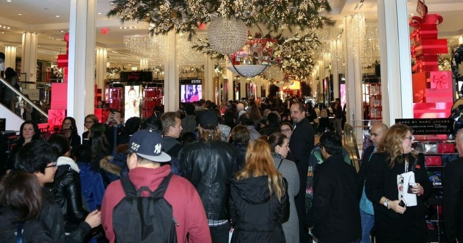 Mob of shoppers at Macy's in Herald Square in New York City.