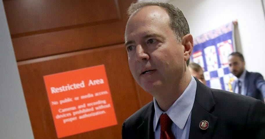 House Intelligence Committee Chairman Rep. Adam Schiff arrives at a Capitol news conference on Tuesday.